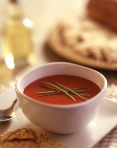 This shot uses short depth of field to bring the viewers' eye to the soup.
